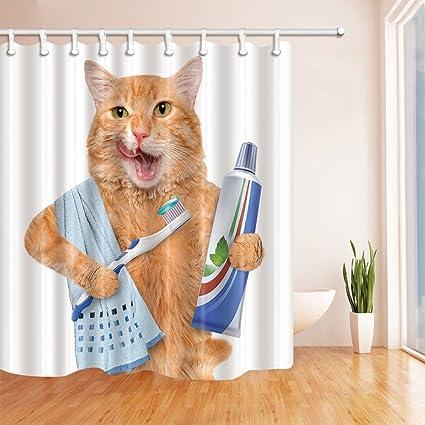 Cat cepillado dientes cortina de ducha poliéster resistente al agua fácil de limpiar –