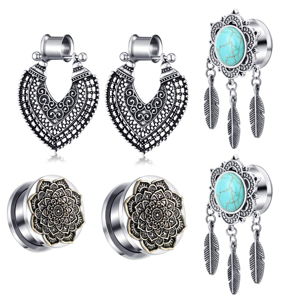 TIANCI FBYJS 3 Pair Woman Surgical Stee Earrings Gauges Tunnels 00g Plug Kit Dangle Ear Plugs Stretching Kit Piercing Plug 2G-00G Eyelet ... (0g=8MM) by TIANCI FBYJS