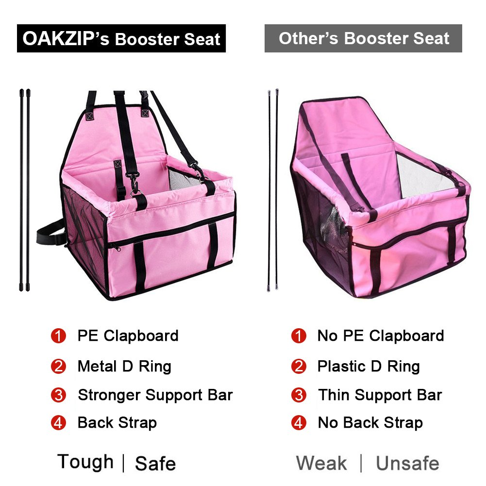 OAKZIP Upgrade Pet Car Booster Seat for Dog Cat Portable and Breathable Bag with Seat Belt Dog Carrier Safety Stable for Travel Look Out,with Clip on Leash and Storage Pockage by OAKZIP (Image #5)