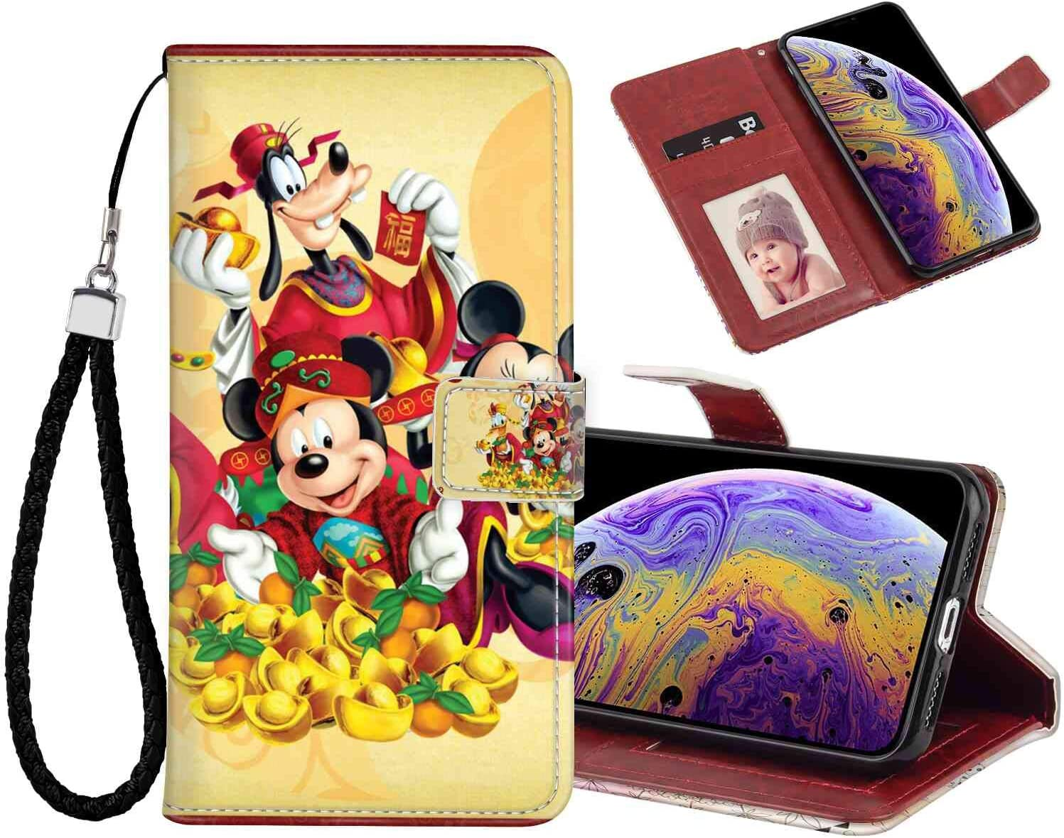 Amazon Com Phone Wallet Case Fit For Iphone Xs Max 6 5in Mickey And Minnie Mouse Donald Duck And Pluto Cartoon