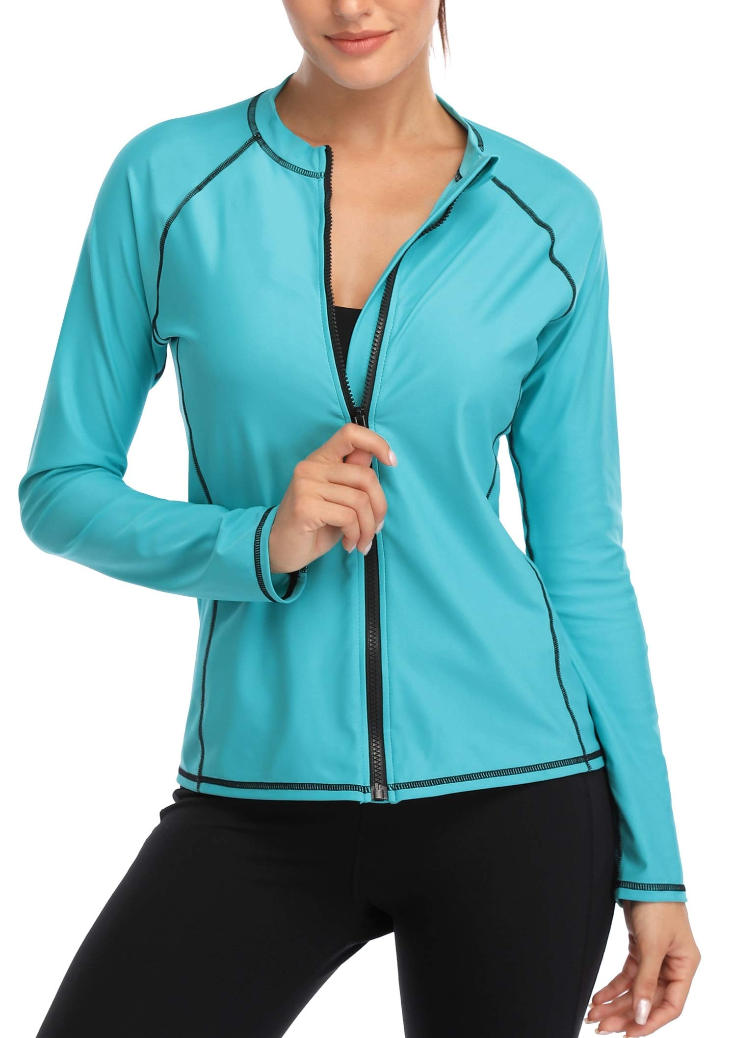 ATTRACO Women's Rashguard Top UV Sun Protect Zip Long Sleeve Swimming Shirt Aqua XL by ATTRACO