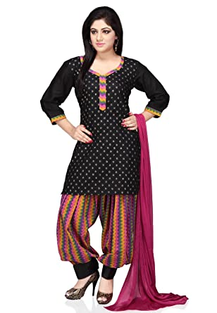 9ed8160fe2 Utsav Fashion Printed Cotton Punjabi Suit in Black Colour: Amazon.in:  Clothing & Accessories