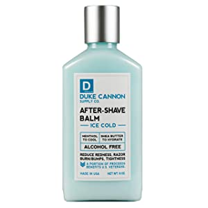 Duke Cannon Ice Cold After-Shave Balm for Men - Reduces Redness, Razor Burn, Bumps, Alcohol-Free (6 oz)