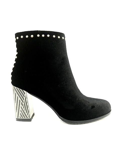 Botas Velvet Botines Negros Ceremonia Ceremonia tacón Alto Detalle con tachas en Terciopelo Elegante Zapato Black Elegant Woman Shoes High Heel Ceremony Eco ...