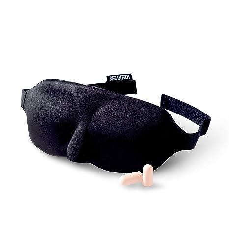 Máscara para dormir DreamTECH® DISEÑO ESBELTO con tapones para los oídos gratis, conjunto de