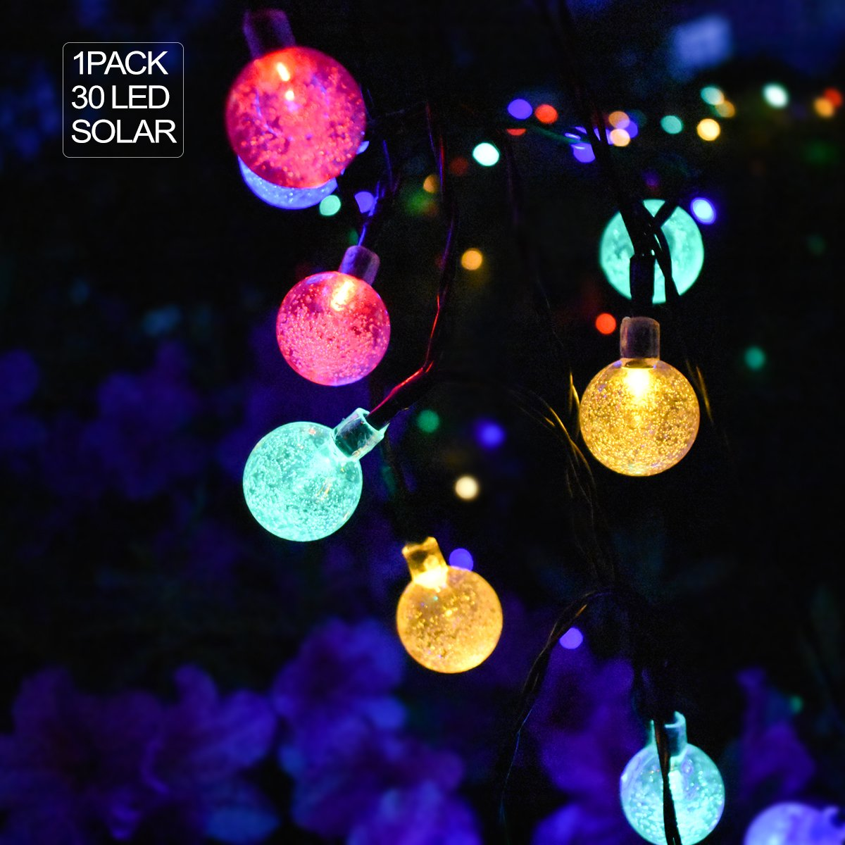 NIDENIONLED 30 Led Globe Solar String Lights Outdoor Indoor for Bedroom Patio Garden Wedding Christmas Tents Party Decor Multi-color 14 FT 1 Pack