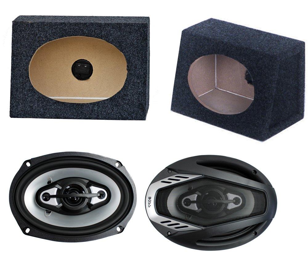 2) NEW BOSS NX694 6x9'' 800W Car Audio Speakers + 2) 6x9'' Speaker Box Enclosures