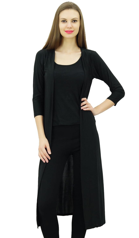 Bimba Women Lycra Soft Drape Long Shrug Cardigan 3/4 Sleeve Casual Longline Coverup PAR-BIM-SH1