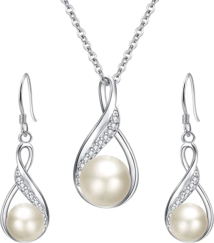 Cubic Zirconia Bridal Wedding Gift 925 Sterling Silver Teardrop Necklace and Earrings Jewellery Set for Women