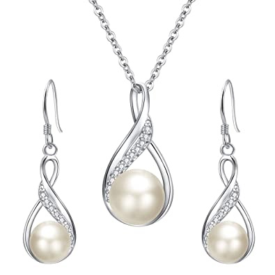 564c28ff5 EleQueen 925 Sterling Silver CZ Freshwater Cultured Pearls Bridal Pendant Necklace  Earrings Wedding Jewelry Stes