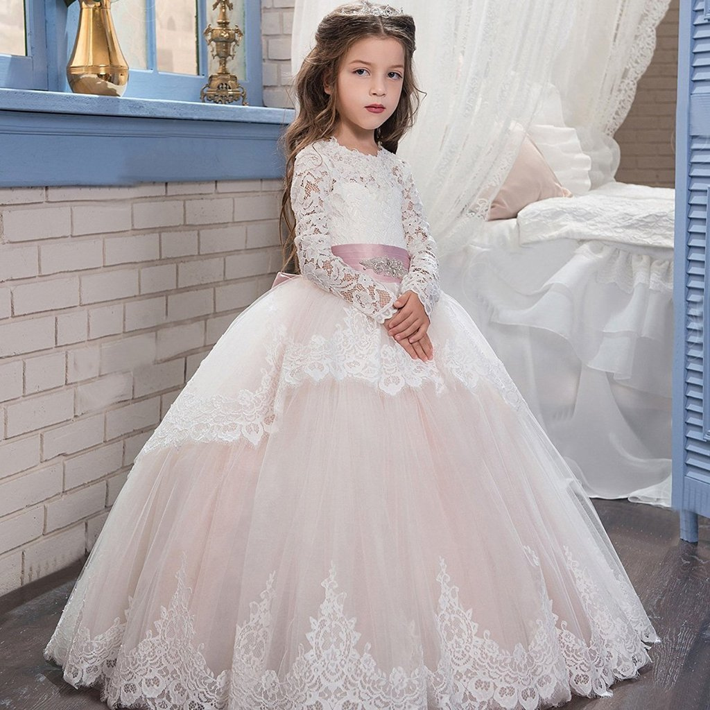Banfvting Lace Long Sleeves First Communication Dress Kids Birthday Gown With Sash by Banfvting (Image #4)