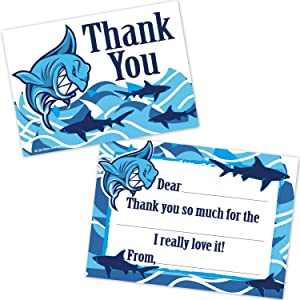 Old Blue Door Invites Shark Kids Fill in Thank You Cards for Boys - Summer Ocean Aquatic Pool Party Birthday Thanks (20 Count with Envelopes)