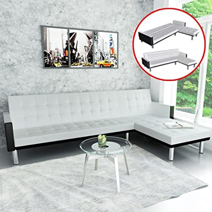 Amazon.com: Leather L-Shape Living Room Lounge Suite Chaise ...
