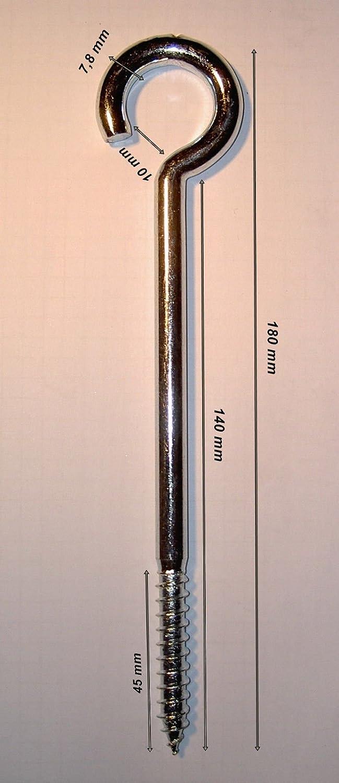 Ger/üstschraube 50 St/ück Schraubhaken gebogen Deckenhaken 7,8 mm x 140 mm verz