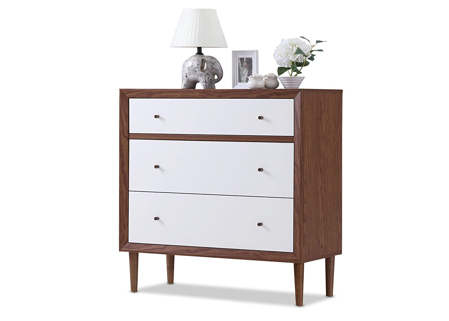 Amazon Com Baxton Furniture Studios Harlow Mid Century Wood 3 Drawer Chest Medium White And Walnut Kitchen Dining
