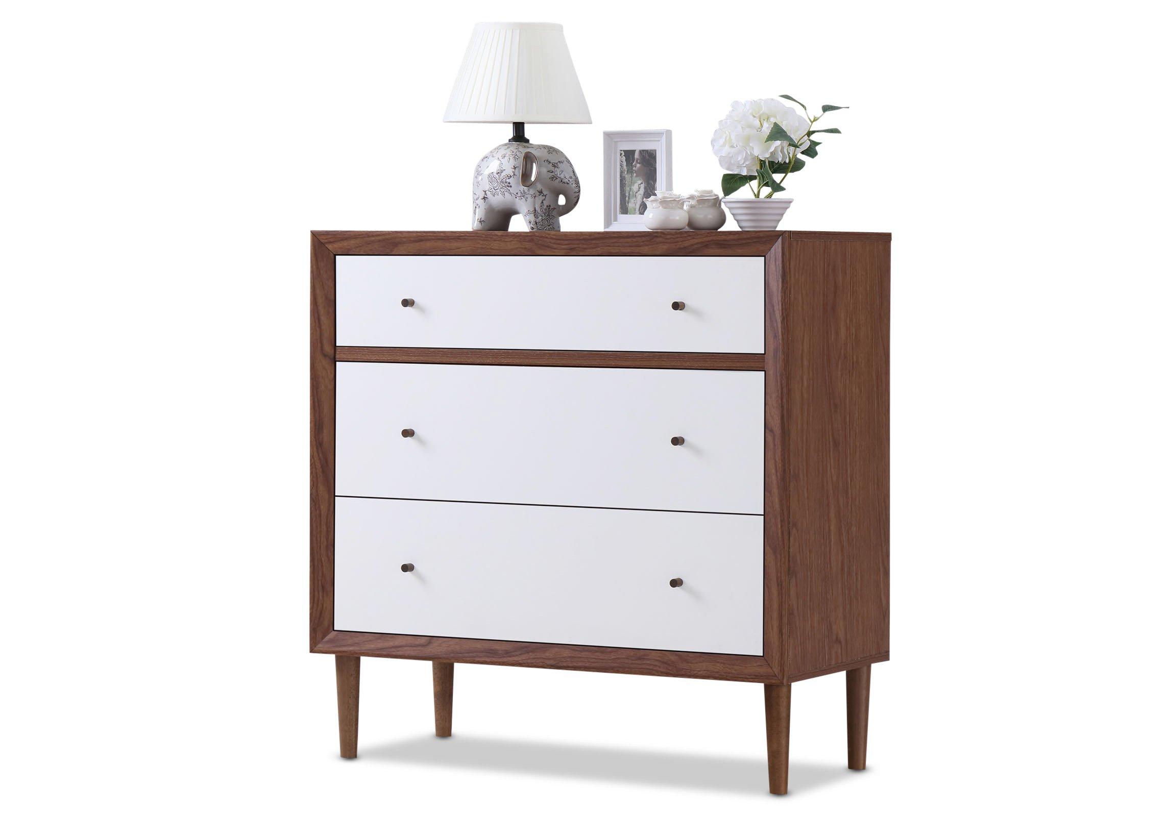 Baxton Furniture Studios Harlow Mid-Century Wood 3 Drawer Chest, Medium, White and Walnut by Baxton Studio