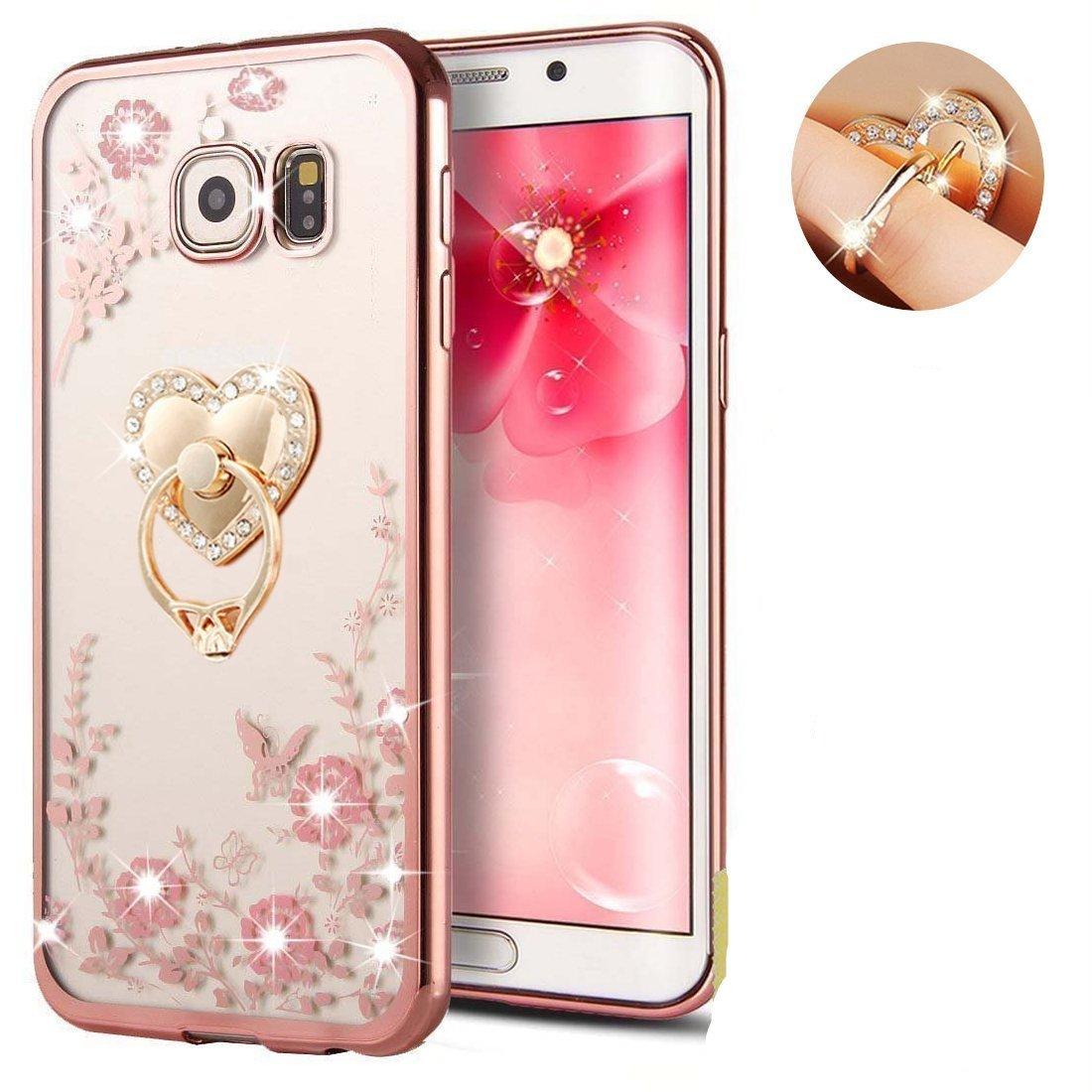 Samsung s8フローラルクリスタルTpu case-auroraloveソフトスリムBlingゴムバンパーカバーfor Samsung Galaxy s8 withラインストーンダイヤモンドガールズレディース bling flower tpu case B071YBFJ2C Rose Gold+Pink with ring stand Rose Gold+Pink with ring stand