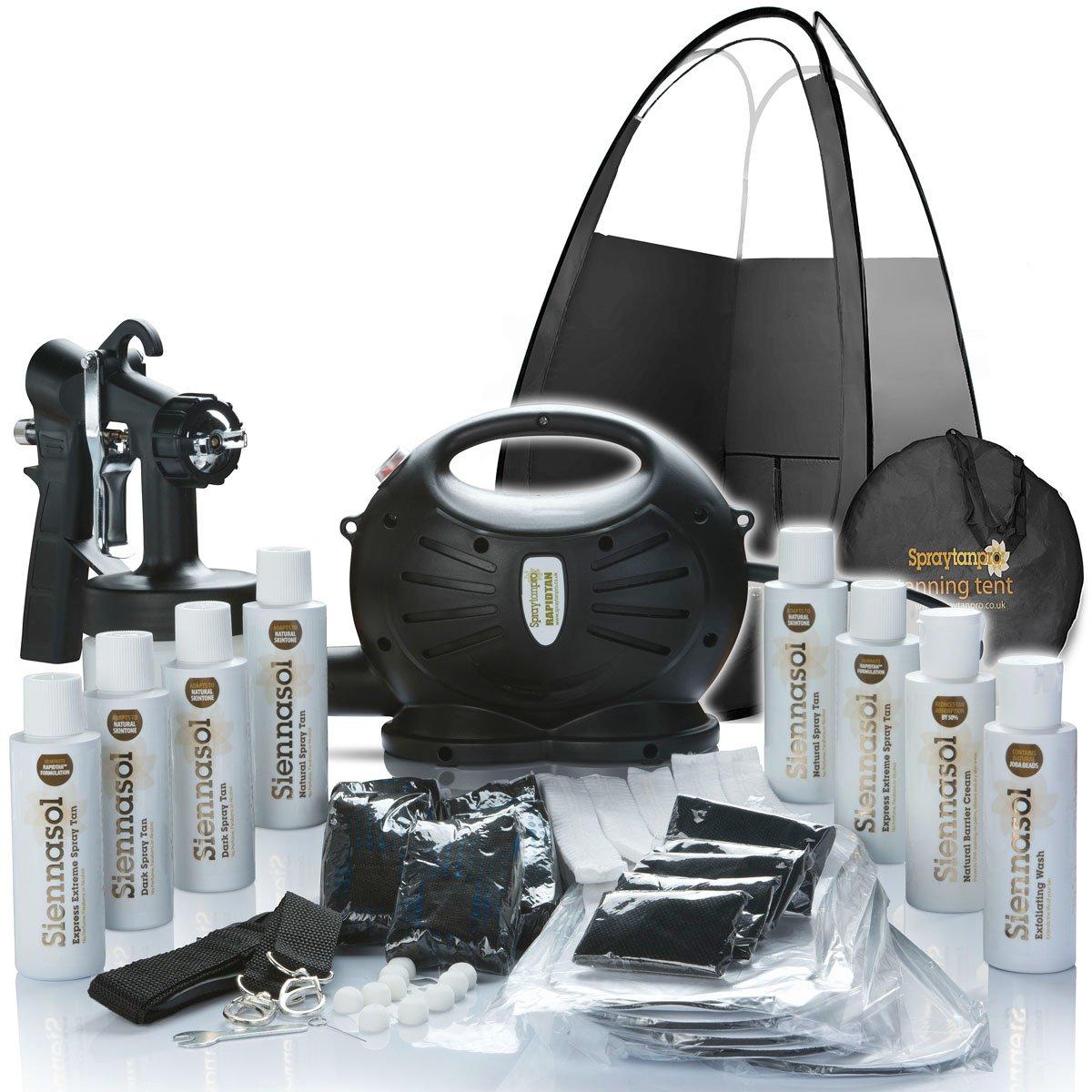 Spray Tan Machine | Rapidtan System Professional HVLP Spray Tan Kit with Supplies | Sticky feet, Tanning Tent, Airbrush Gun, 6 X Sunless Spray Tan Solutions