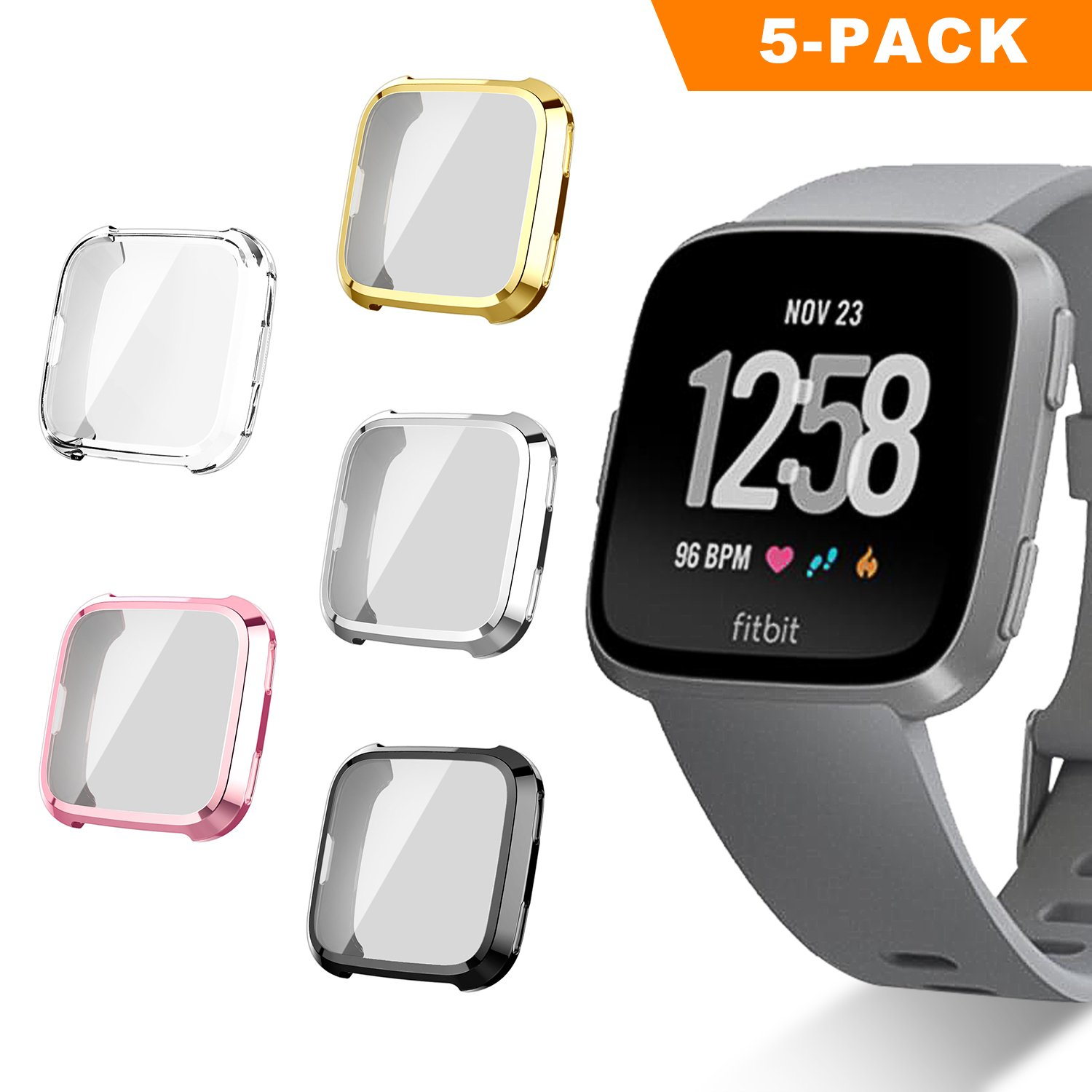 Fitbit Versa Screen Protector Case, UBOLE Scratch-resistant Flexible Lightweight Plated TPU FullBody Protective Case for Fitbit Versa Smart Watch (5PACK)