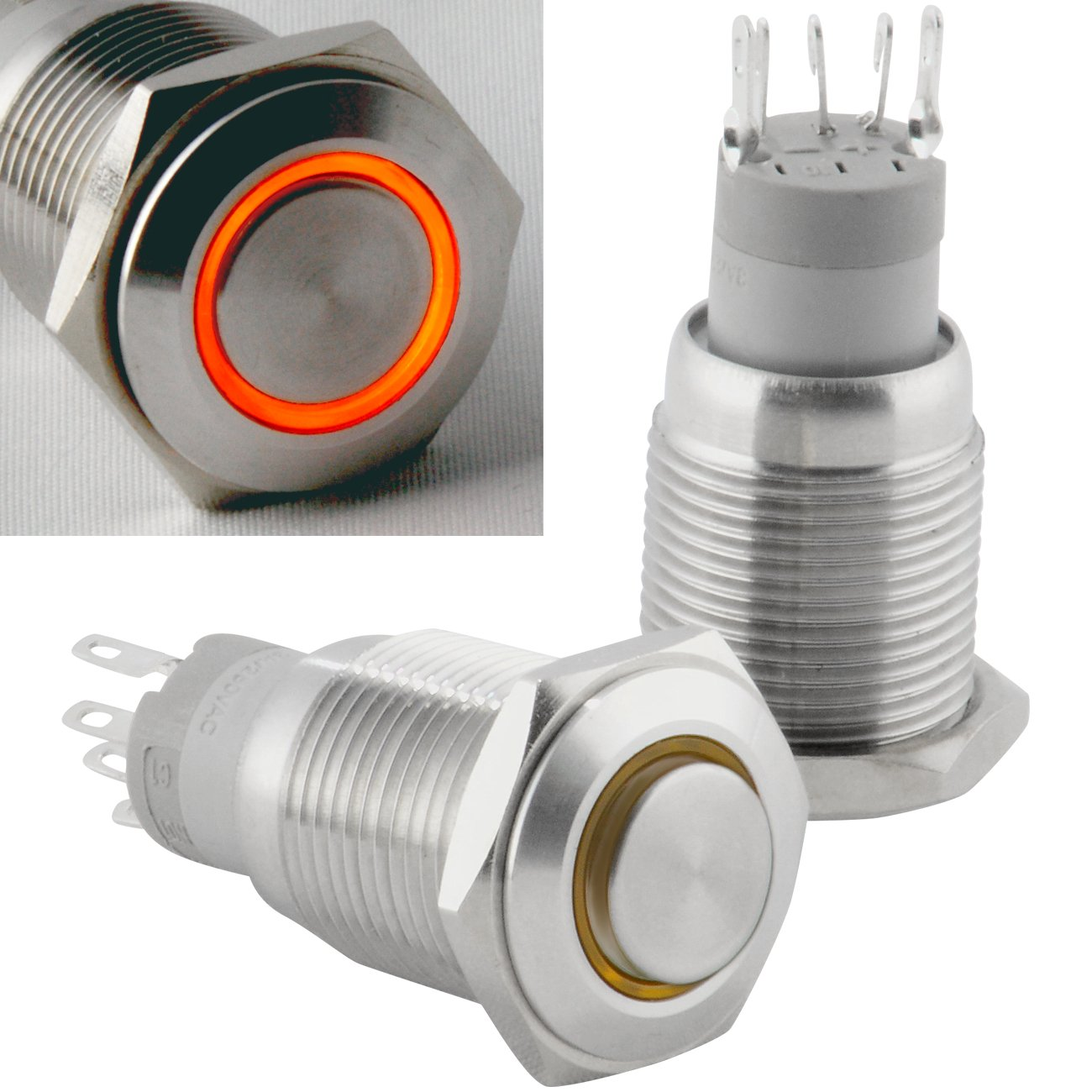 Diameter Panel Cutout Hole 16mm JacobsParts Momentary Pushbutton Starter Switch Stainless Steel Silver with Orange LED fits 5//8