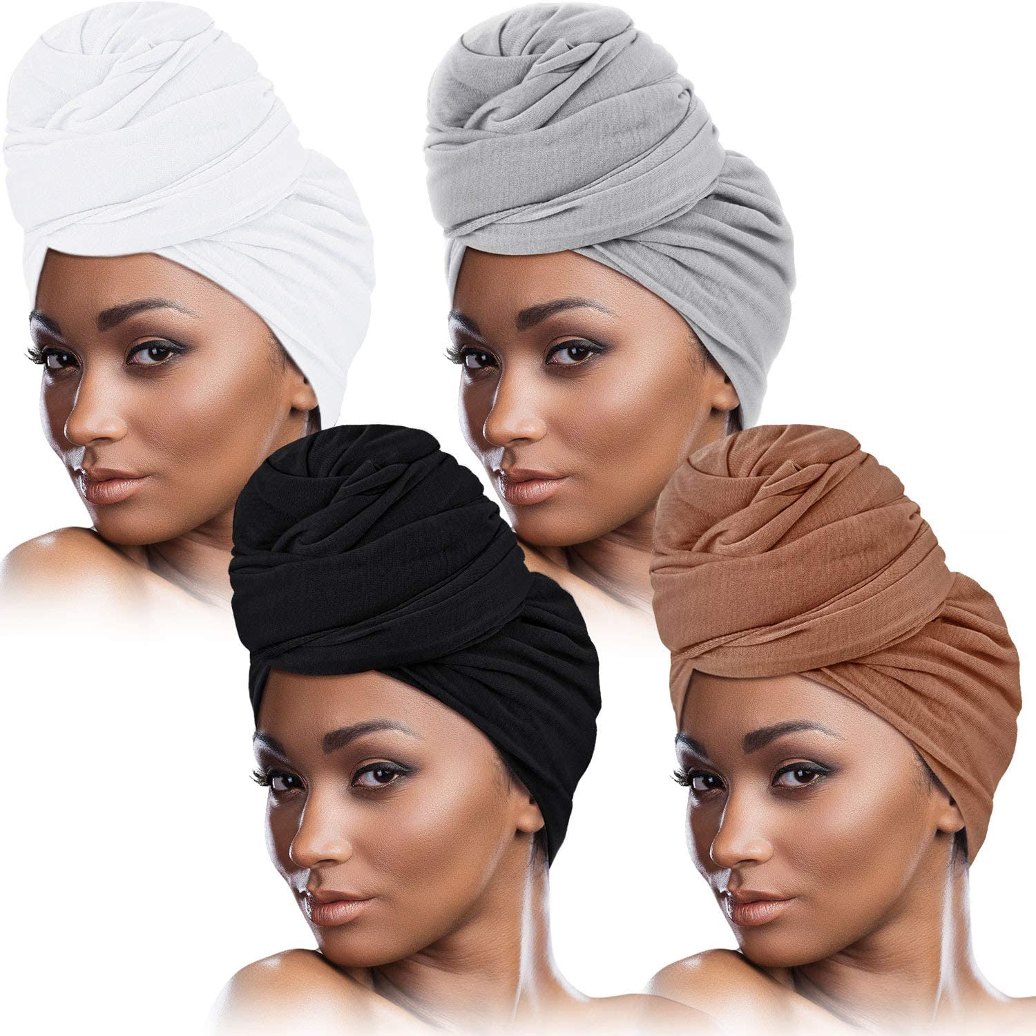 4 Pieces Head Wrap Scarf Stretch Turban for Women Long Hair Scarf Wrap Soft  Head Band Tie African Head Wraps at Amazon Women's Clothing store