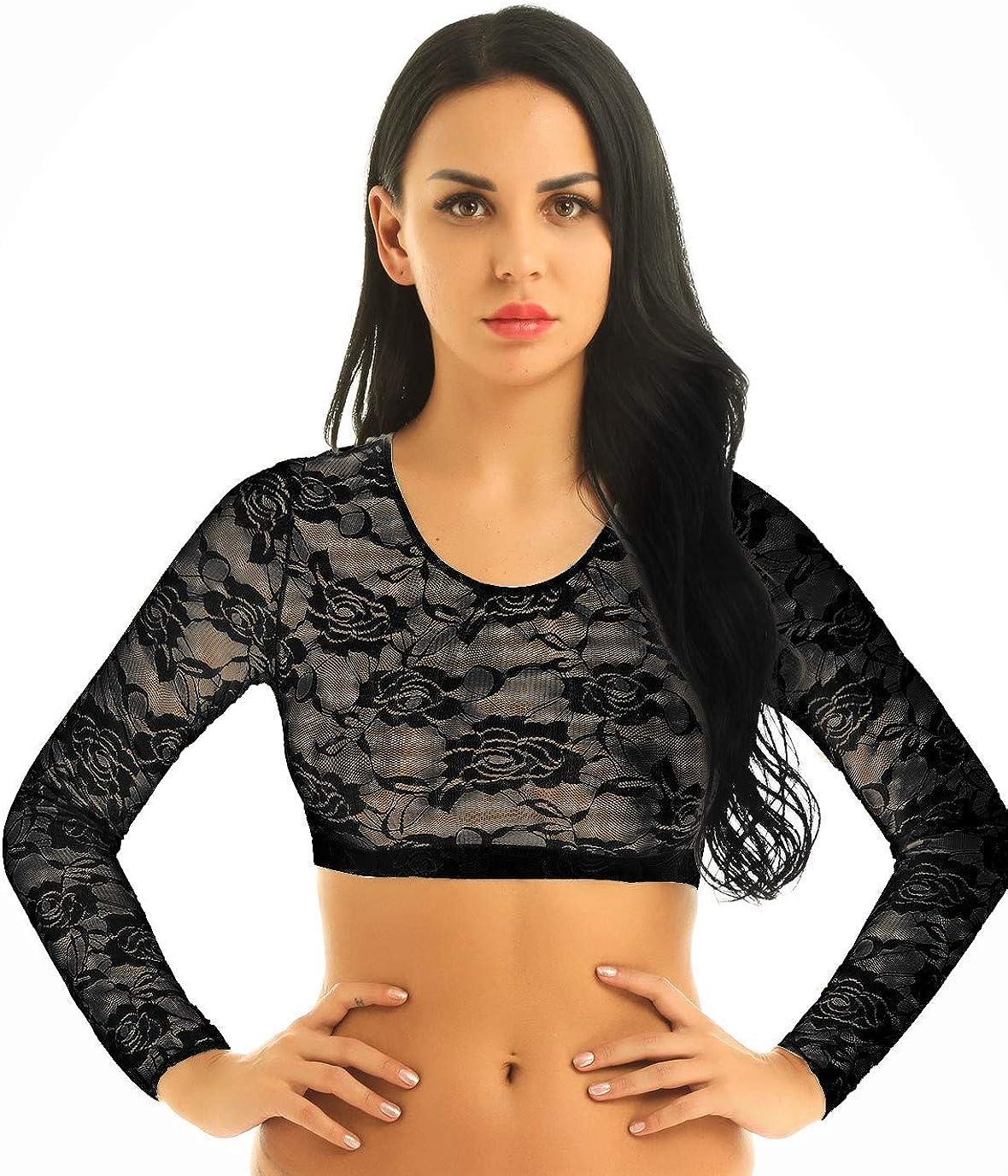 Freebily Damen Spitze Crop Top Transparent Shirt Bluse Bauchfrei Mesh Top Bikini Oberteil Kurz T-Shirt Unterhemd Clubwear Reizw/äsche