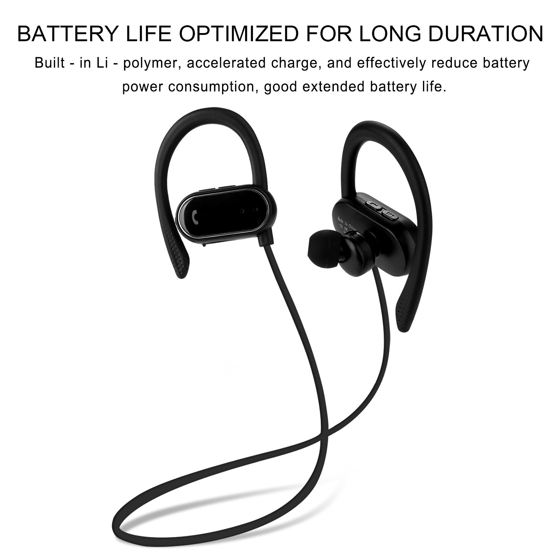 KAYSN Bluetooth Headphones, Wireless In Ear Earbuds Sweat-proof Earphones with Ear Hooks for Sports Running Driving (black)