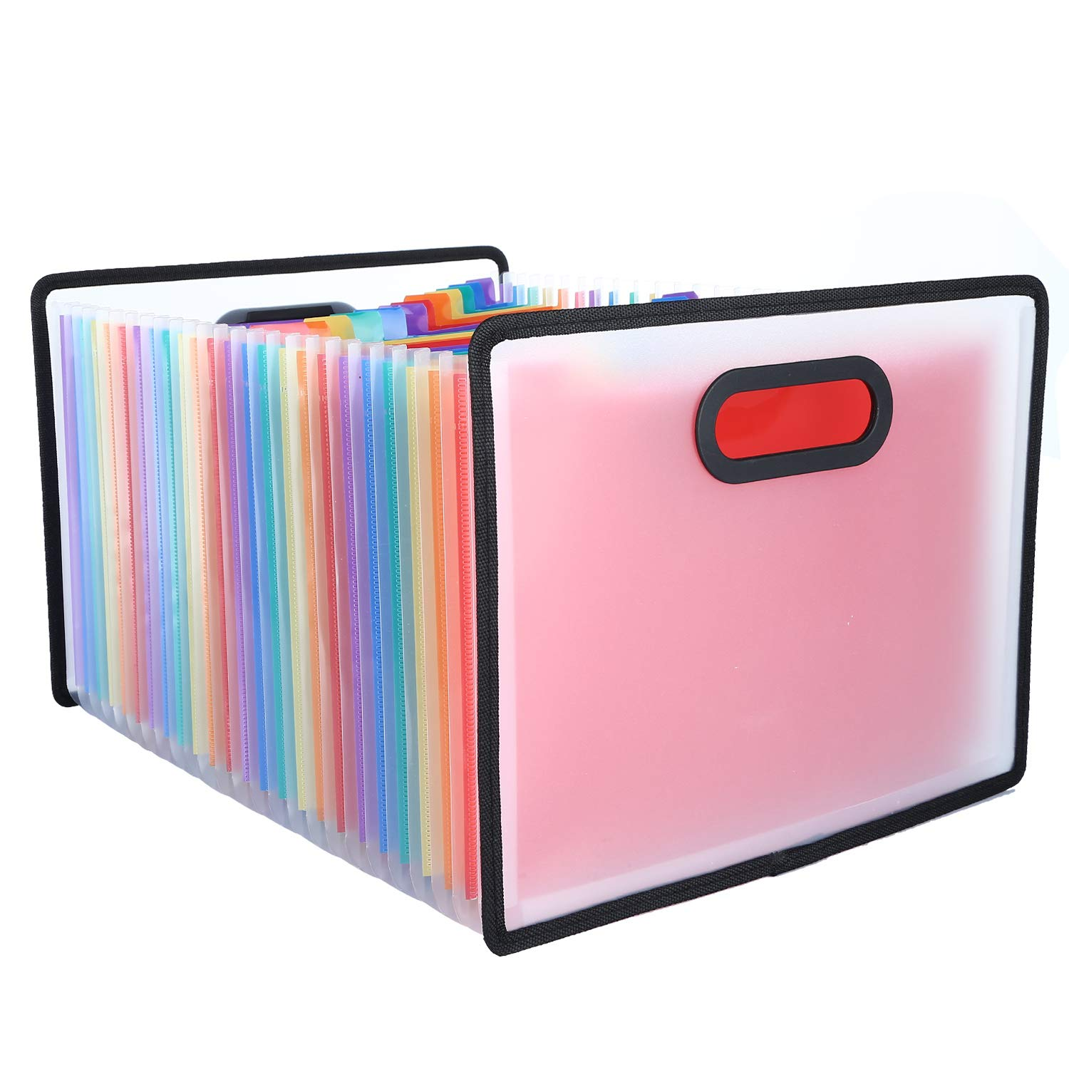 Expanding File Folder, Expandable File Organizer, Multicoloured Accordion File Folder with Labels Guide and Customized Label Sticker for Office/Home/Business/Study/Paper Work (24 Pockets)