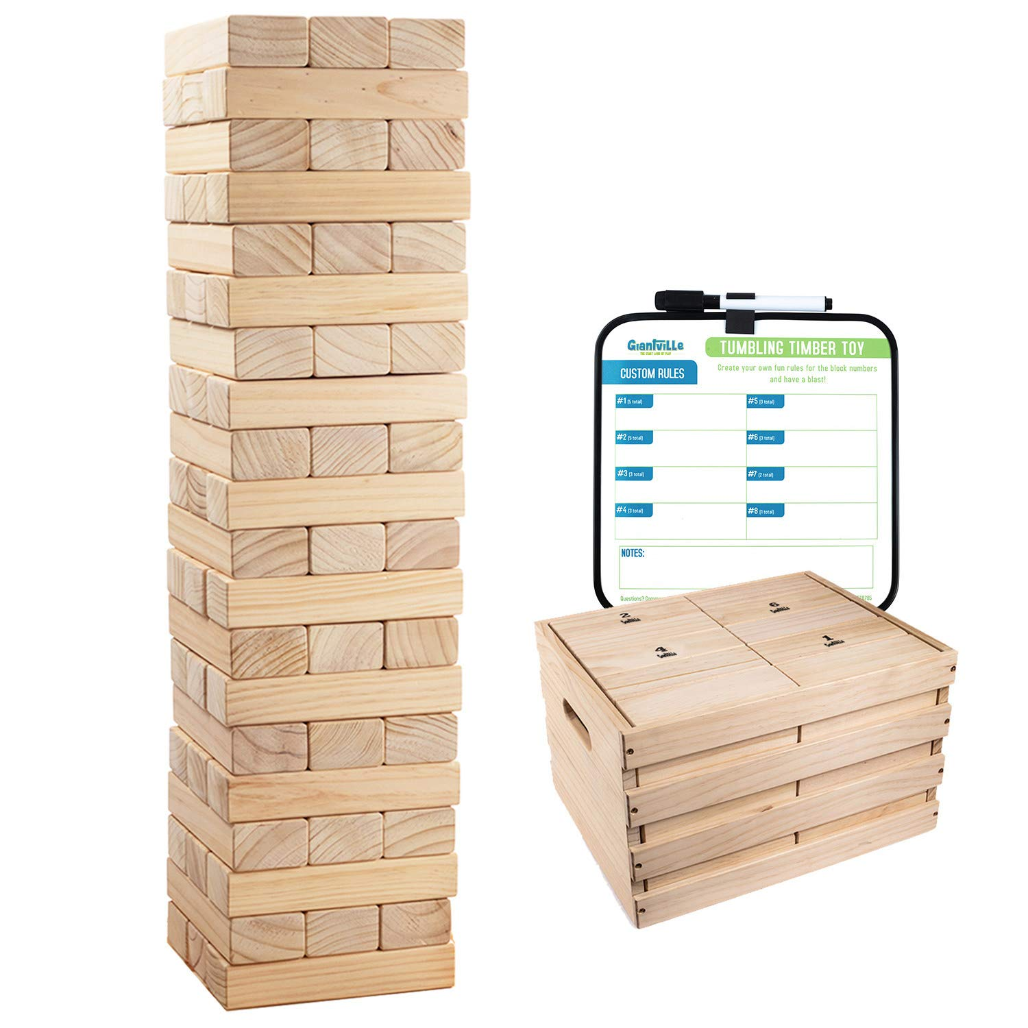 Giant Tumbling Timber Toy - 60 Extra Jumbo Wooden Blocks Floor Game for Kids and Adults, w/ Storage Crate/Game Table-No Assembly Required - Premium Pine Wood, Life Size- Grows to Over 6-feet