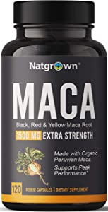 Organic Maca Root Powder Capsules 1500 mg with Black + Red + Yellow Peruvian Maca Root Extract Supplement for Men and Women - Vegan Pills with Black Pepper for Better Absorption
