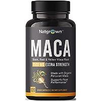 Organic Maca Root Powder Capsules 1500 mg with Black + Red + Yellow Peruvian Maca...