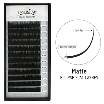 a71809e494a Amazon.com : LASHVIEW Matte Black Ellipse Eyelash Extensions Individual  Semi-permanent Ellipse Flat for Professional Salon Use Extremely Soft ...