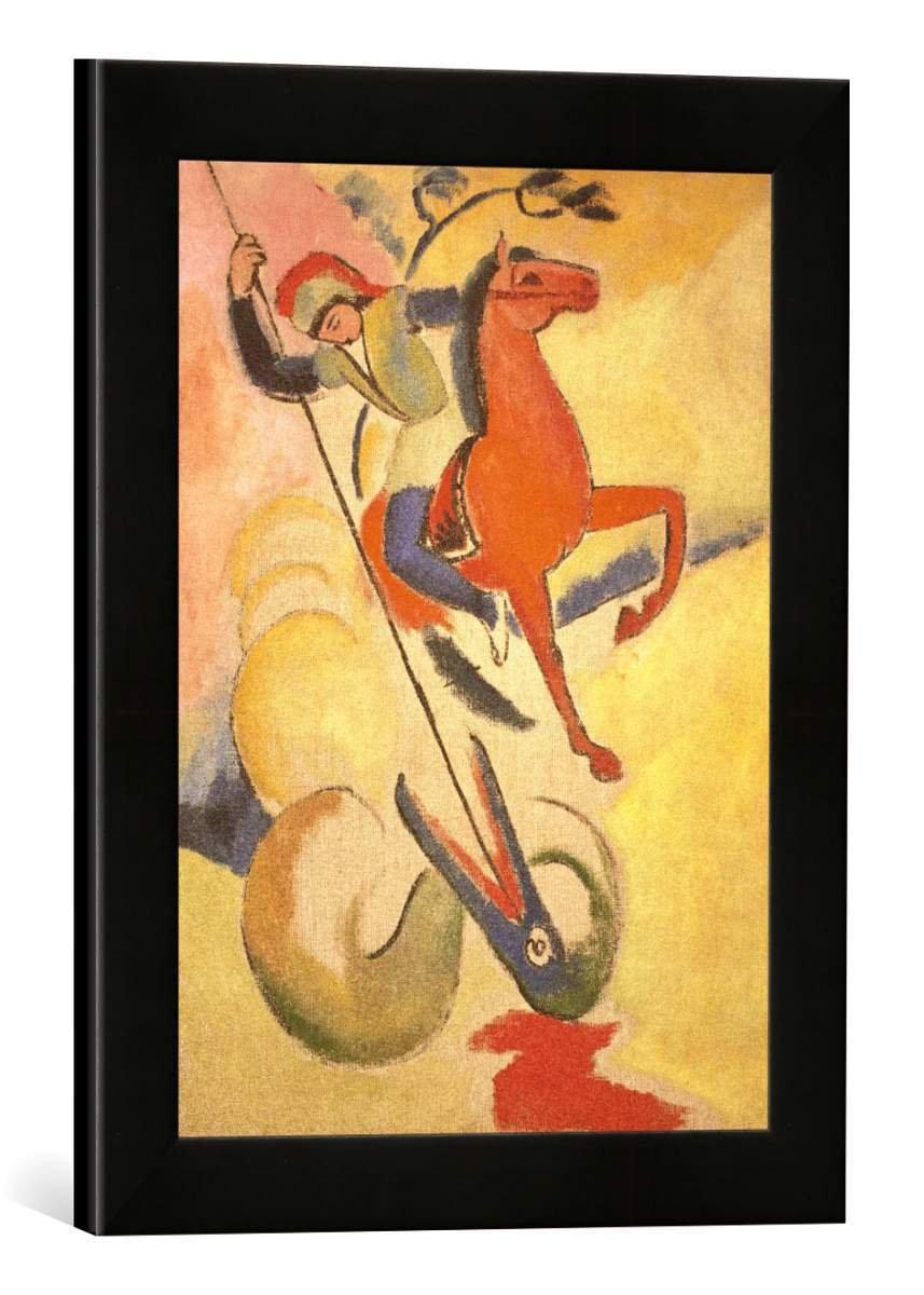Gerahmtes Bild von August Macke Heiliger Georg, Kunstdruck im hochwertigen handgefertigten Bilder-Rahmen, 30x40 cm, Schwarz matt