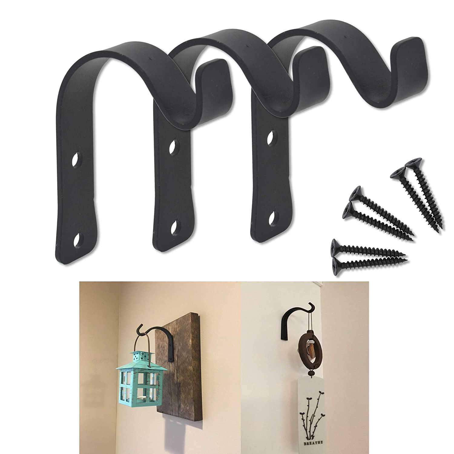 AddGrace 3 Pack Wrought Iron Hooks Wall Mounted Coat Towel Hooks for Coat,Scarf,Bag,Towel,Hat (3 Pack)