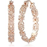 Amazon Collection Gold Plated Sterling Silver Filigree Round Hoop Earrings