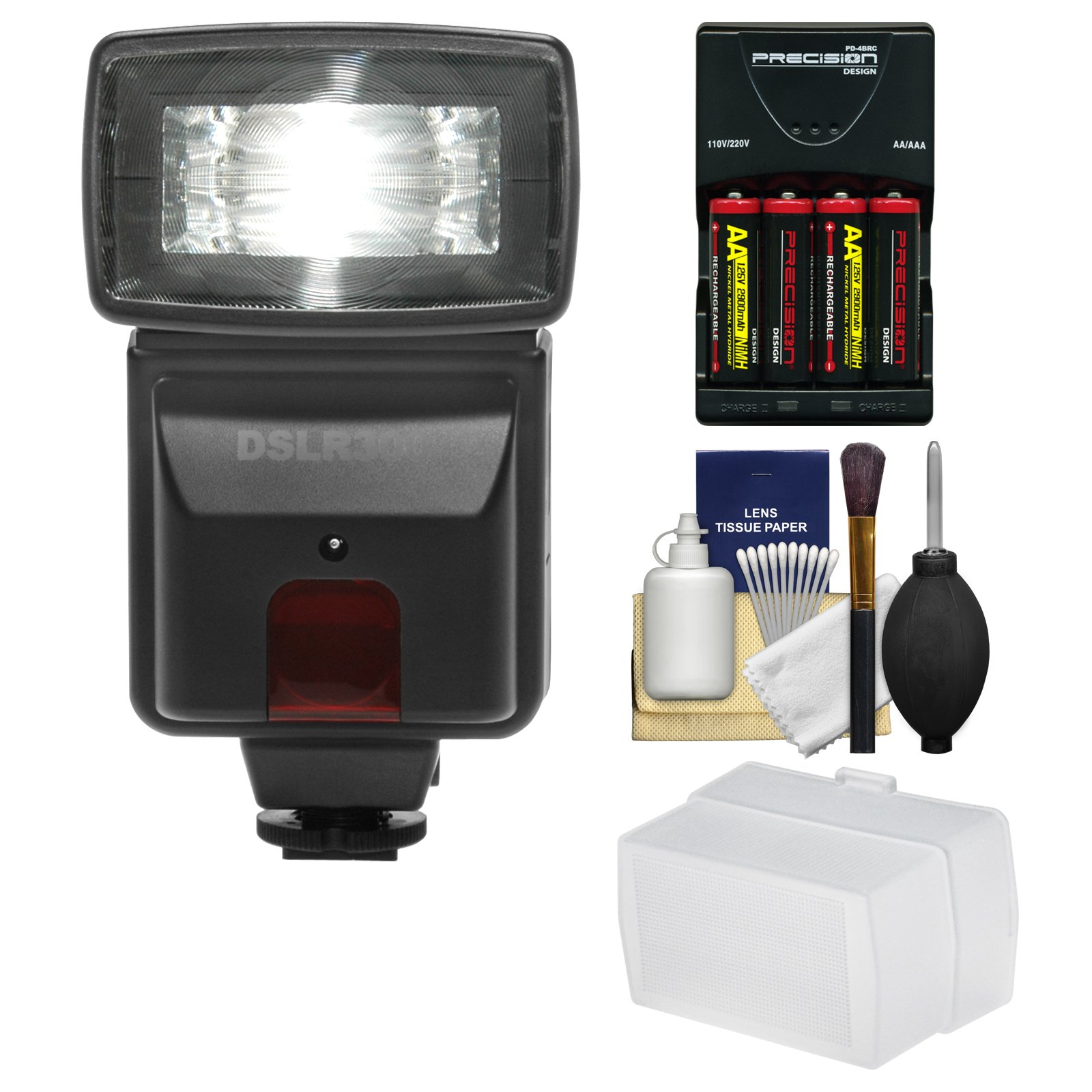 Precision Design DSLR300 High Power Auto Flash with Diffuser + Batteries & Charger + Accessory Kit for Nikon D3200, D3300, D5300, D5500, D7100, D7200 DSLR Cameras by Precision Design