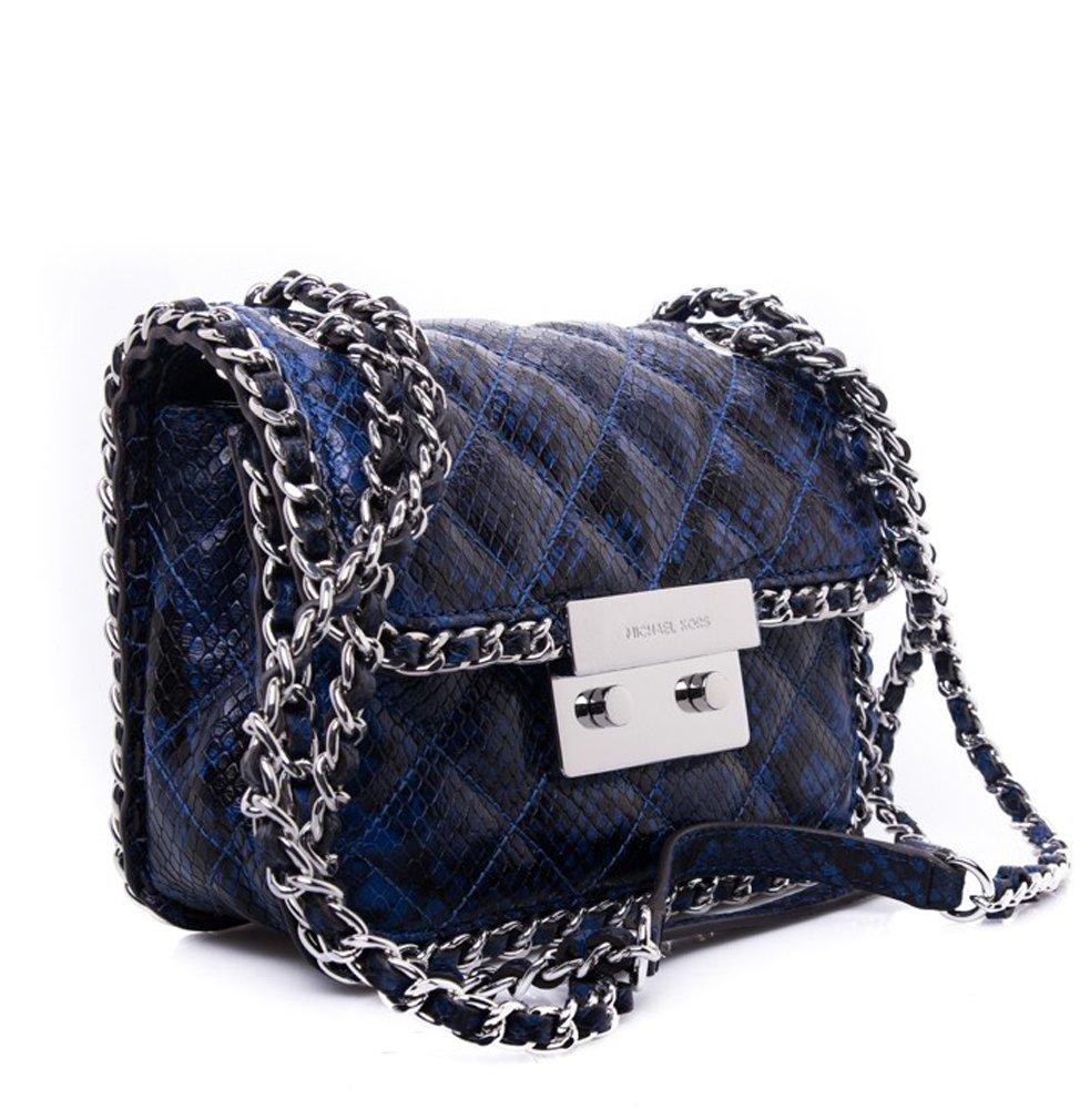 Michael Kors Women's Carine Shoulder Bag, Electric Blue Embossed Leather, Medium