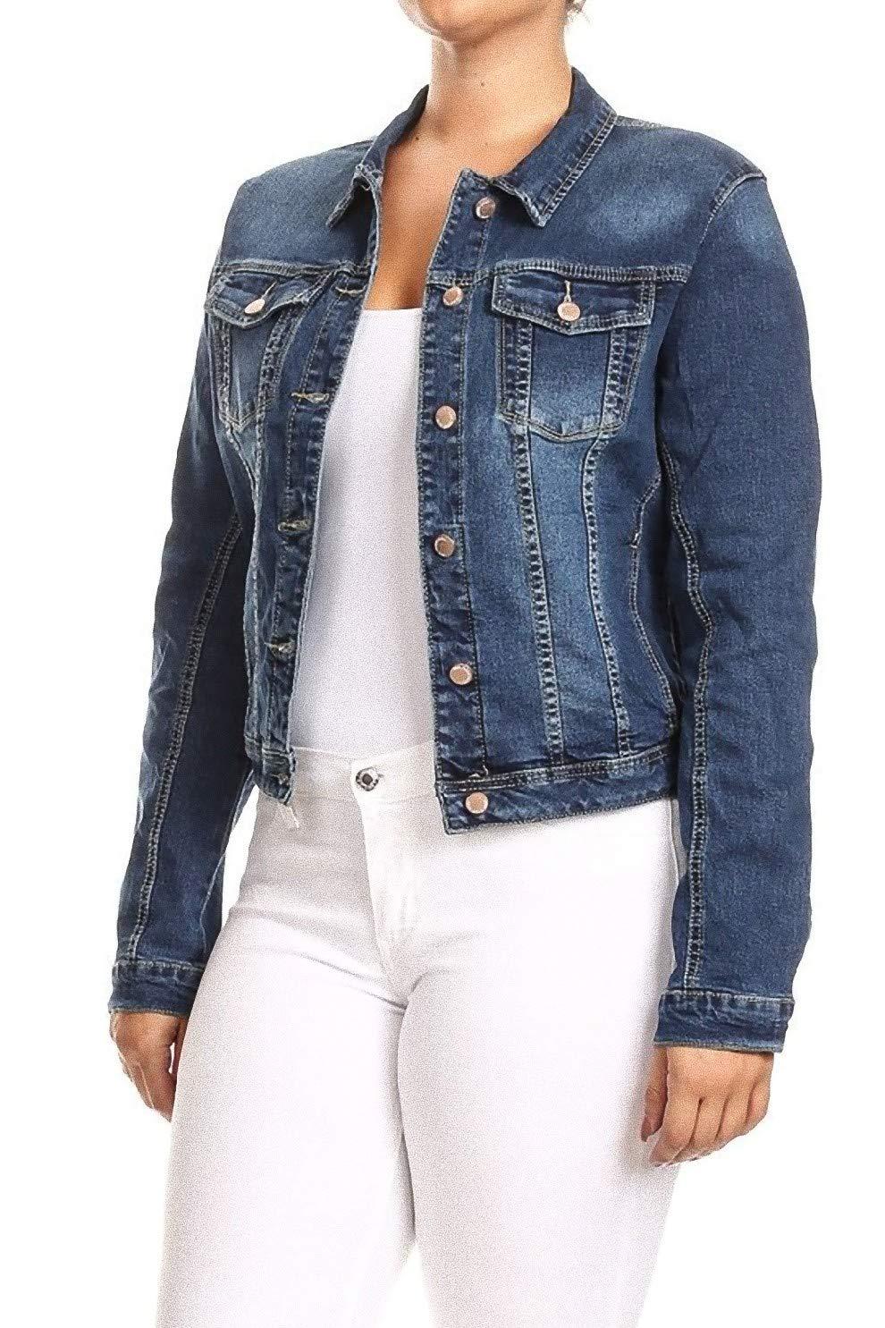Women's Junior Plus Size, Premium Denim Jackets Long Sleeve Loose Jean Coats in M. Blue Size 2XL