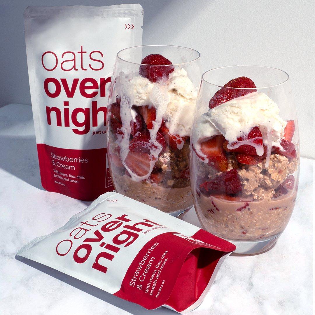 Oats Overnight Las fresas y crema (3 onzas por paquete)-alta ...