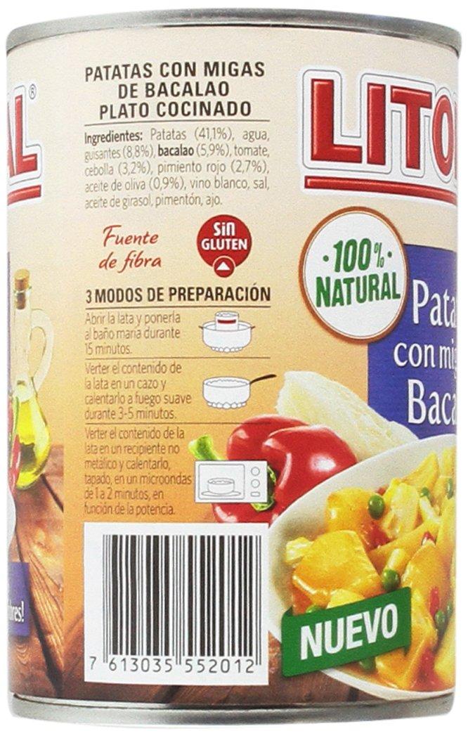 Litoral - Patatas con Migas de Bacalao - Pack de 5 x 420 g: Amazon.es: Alimentación y bebidas