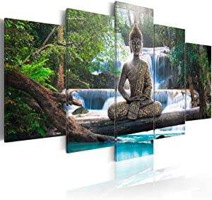 Canvas Print Design Wall Art Painting Decor Zen Decorations for Home Buddha Landscape Artwork Pictures Bedroom (Green, Overall 60''W x 30H'')
