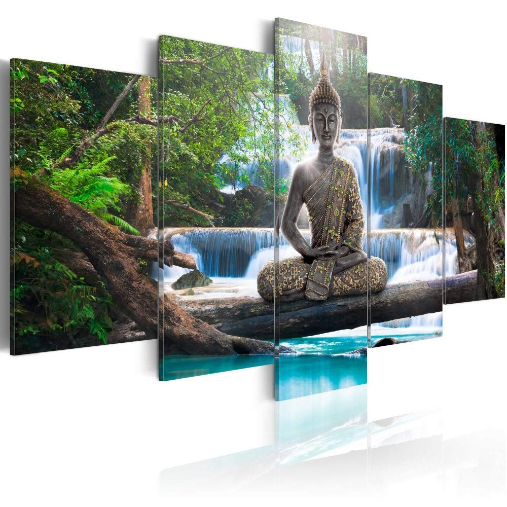 Zen Stones before Waterfall Canvas Picture Wall Decoration Art Print