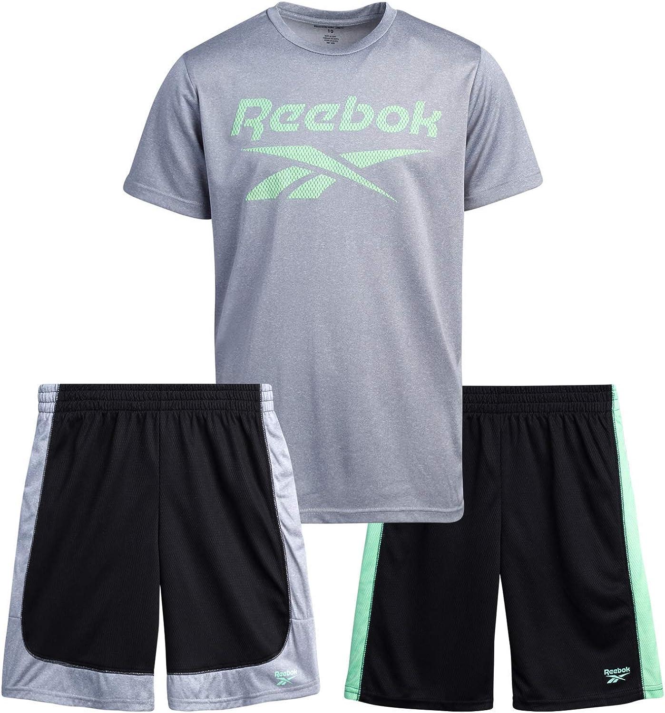 Reebok Boys' Active Shorts Set – 3 Piece Short Sleeve...