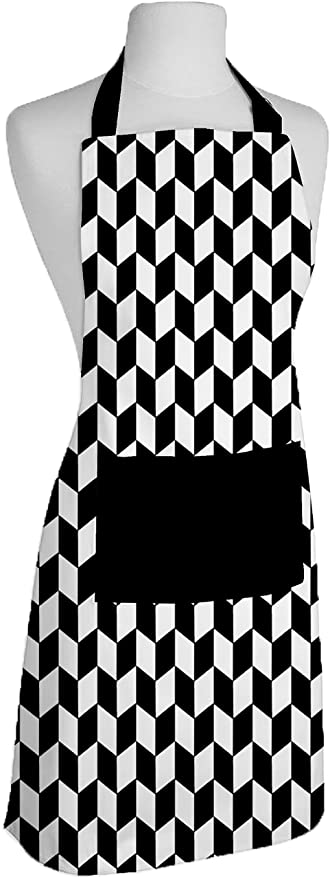 Airwill, 100% Cotton Designer Printed Aprons, Sized 65cm in Width & 80cm in Length with 1 Center Pocket, Adjustable Buckle on Top and 2 Long Ties On Both 2 Sides. Pack of 1 piece