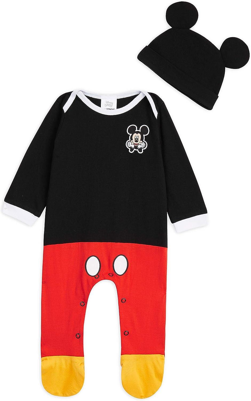 Disney Ropa Bebe Niño, Pijama Bebe de Mickey Mouse, Pijama Bebe Invierno, Body Bebe 100% Algodon, Pijama Entero con Gorro, Regalos para Bebes 0-24 Meses