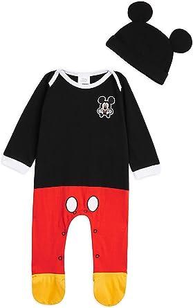 Disney Ropa Bebe Niño, Pijama Bebe de Mickey Mouse, Pijama Bebe Invierno, Body Bebe 100% Algodon, Pijama Entero con Gorro, Regalos para Bebes 0-24 ...