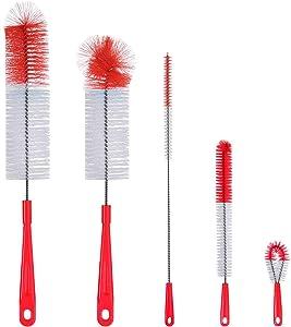 ALINK 5-Pack Red Bottle Brush Cleaner Set - Long Large Cleaing Brush for Narrow Neck Wine/Beer Bottles, Hydro Flask, Thermos, Hummingbird feeder, S'Well, Water Bottles, Spout/Lid Brush, Straw Brush