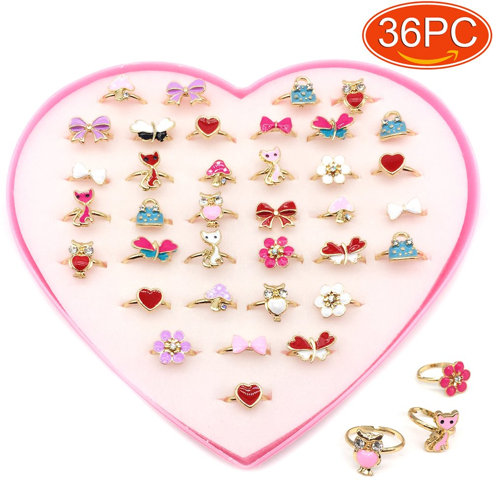 Elesa Miracle 36pcs Children Kids Little Girl Adjustable Jewelry Rings in Box, Random Shape and Color, Girl Pretend Play and Dress up Rings