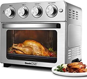 Air Fryer Toaster Oven Geek Chef Electric Air Fry Oven Smart Convection Oven Countertop Rotisserie/Toast/Bake/Broil/Roast/Dehydrate/Reheat/chicken/Pizza/Bagel/Multi-Function 7-in-1 Preset Modes Recipe|23Qt Large|Stainless steel 1700W