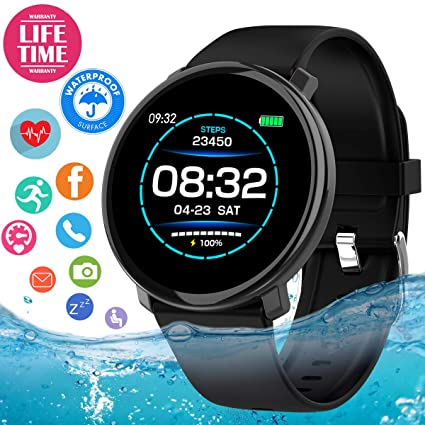 Smart Watch, Fitness Tracker Waterproof with Blood Pressure Heart Rate Monitor, Sport Fitness Watches Bluetooth Smartwatch Activity Tracker Watch with ...